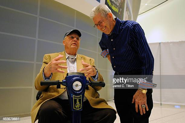 Hall of Famer Ned Jarrett speaks with NASCAR Hall of Fame inductee Maurice Petty during NASCAR Sprint Media Tour at the NASCAR Hall of Fame on...