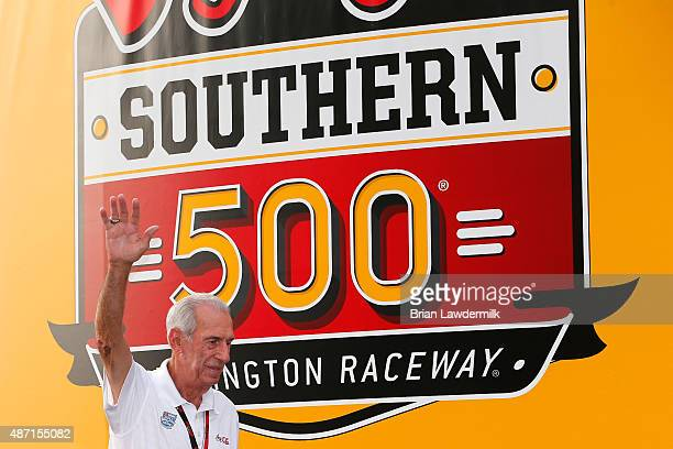 Hall of Famer Ned Jarrett takes part in prerace ceremonies for the NASCAR Sprint Cup Series Bojangles' Southern 500 at Darlington Raceway on...