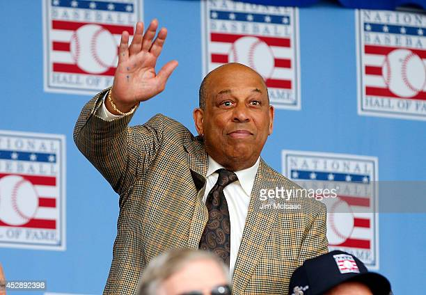 Hall of Famer Orlando Cepeda is introduced during the Baseball Hall of Fame induction ceremony at Clark Sports Center on July 27 2014 in Cooperstown...