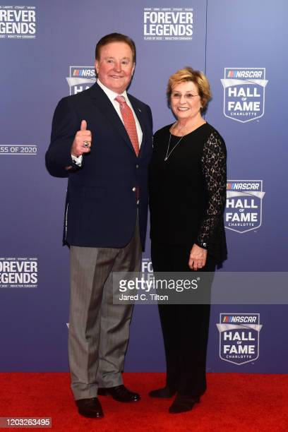 Hall of Famer Richard Childress and his wife Judy pose on the red carpet prior to the 2020 NASCAR Hall of Fame Induction Ceremony at Charlotte...