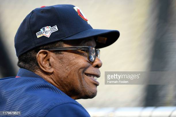 Hall of Famer Rod Carew looks on prior to game three of the American League Division Series between the New York Yankees and the Minnesota Twins at...