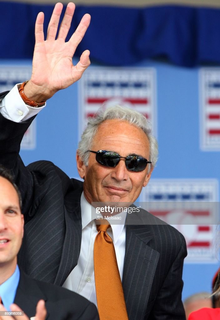 Hall of Famer Sandy Koufax waves to the crowd as he is introduced at Clark Sports Center during the 2009 Baseball Hall of Fame induction ceremony on July 26, 2009 in Cooperstown, New York.