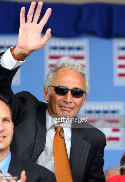 Hall of Famer Sandy Koufax waves to the crowd as he is introduced at Clark Sports Center during the 2009 Baseball Hall of Fame induction ceremony on...