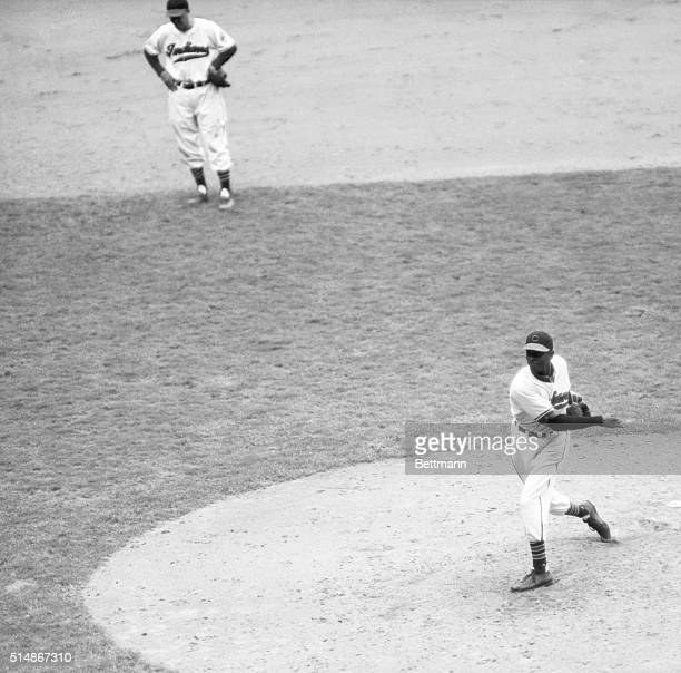 Hall of Famer Satchel Paige in his only World Series appearance, pitching relief in Game 5 against the Boston Braves.