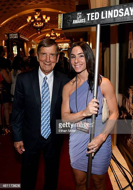 Hall of Famer Ted Lindsay arrives on the red carpet prior to the 2014 NHL Awards at Encore Las Vegas on June 24 2014 in Las Vegas Nevada