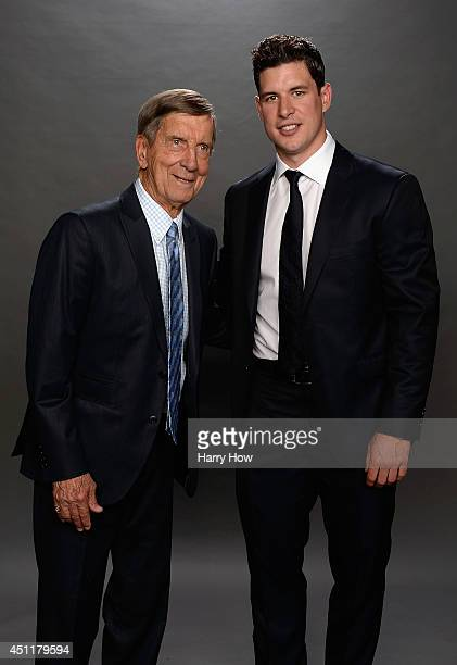 Hall of Famer Ted Lindsay poses with Sidney Crosby of the Pittsburgh Penguins for a portrait during the 2014 NHL Awards at Encore Las Vegas on June...