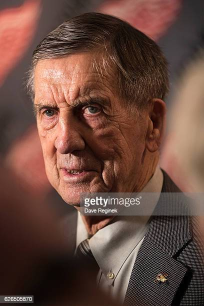 Hall of Famer Ted Lindsay speaks to the media prior to an NHL game between the Detroit Red Wings and the Dallas Stars at Joe Louis Arena on November...