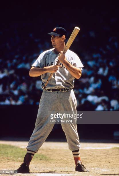 Hall of Famer Ted Williams of the Boston Red Sox stands at bat