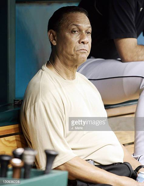 Hall of Famer Tony Perez looks out of the dugout prior to Sunday's game featuring the Tampa Bay Devil Rays and the Florida Marlins at Tropicana Field...