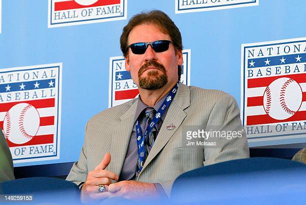 Hall of Famer Wade Boggs is introduced at Clark Sports Center during the Baseball Hall of Fame induction ceremony on July 22 2012 in Cooperstown New...