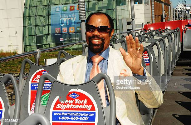 "Hall of Famer Walt ""Clyde"" Frazier is honored by Gray Line New York's Ride of Fame campaign at Pier 78 on September 19, 2012 in New York City."