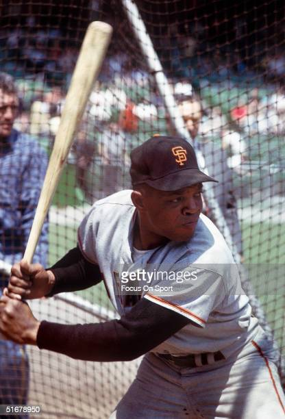 Hall of Famer Willie Mays of the San Francisco Giants practices batting in the batting cage