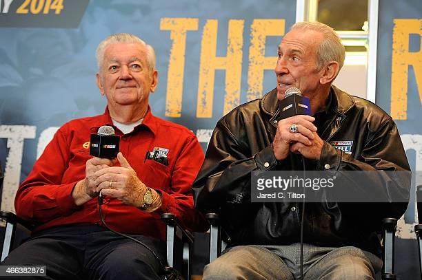 NASCAR Hall of Famers Bobby Allison and Ned Jarrett speak on stage during NASCAR Hall of Fame Fan Appreciation Day at NASCAR Hall of Fame on February...