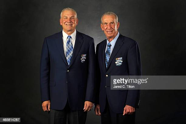 Hall of Famers Dale Jarrett and dad Ned Jarrett pose for a portrait session during the NASCAR Hall of Fame induction ceremony at NASCAR Hall of Fame...