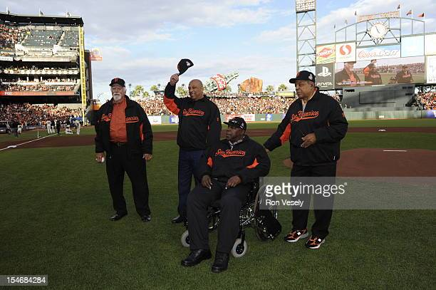 Hall of Famers Gaylord Perry Orlando Cepeda Willie McCovey and Willie Mays pose for a photo on the field before Game 1 of the 2012 World Series...