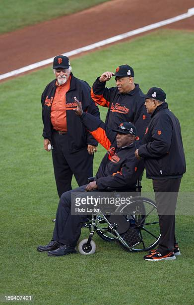 Hall of Famers Gaylord Perry Orlando Cepeda Willie McCovey and Willie Mays are introduced on the field before Game One of the 2012 World Series...