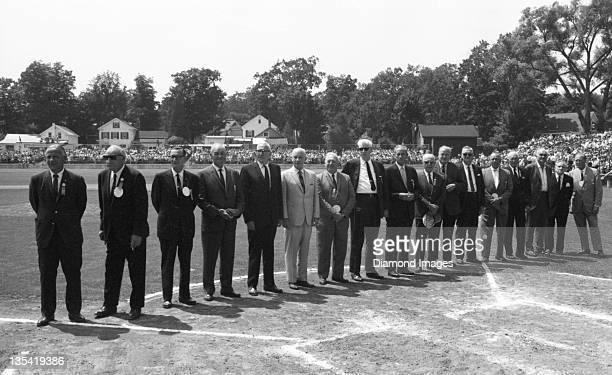Hall of Famers Joe Medwick, Goose Goslin, Lloyd Waner, Zack Wheat, Pie Traynor, Commissioner of Baseball Gen. William Eckert, Frankie Frisch, Lefty...