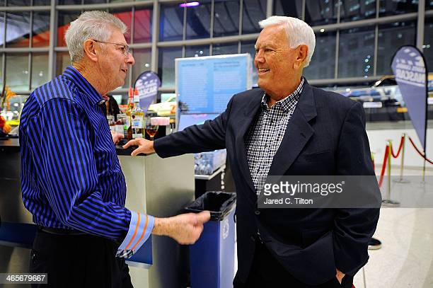 Hall of Famers Leonard Wood and Junior Johnson speak during NASCAR Sprint Media Tour at the NASCAR Hall of Fame on January 28 2014 in Charlotte North...