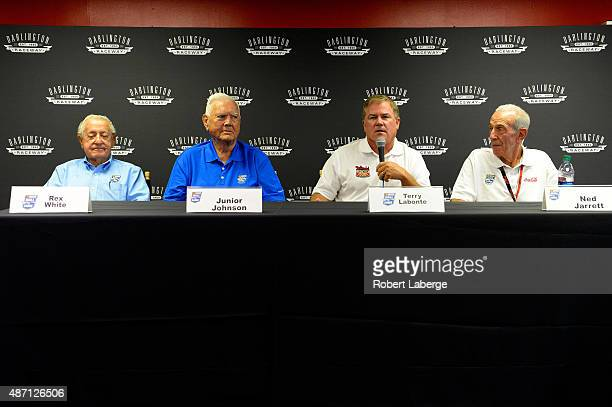 NASCAR Hall of Famers Rex White Junior Johnson Terry Labonte and Ned Jarrett speak with the media at a press conference prior to the NASCAR Sprint...