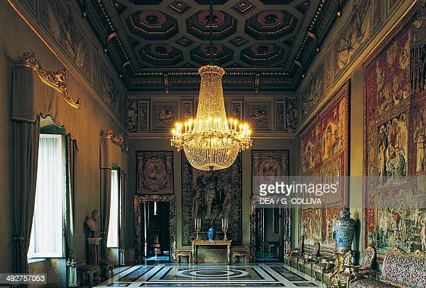 Hall of Hercules three tapestries on the walls from the Triumphs of the Gods series Quirinal Palace Rome Lazio Italy