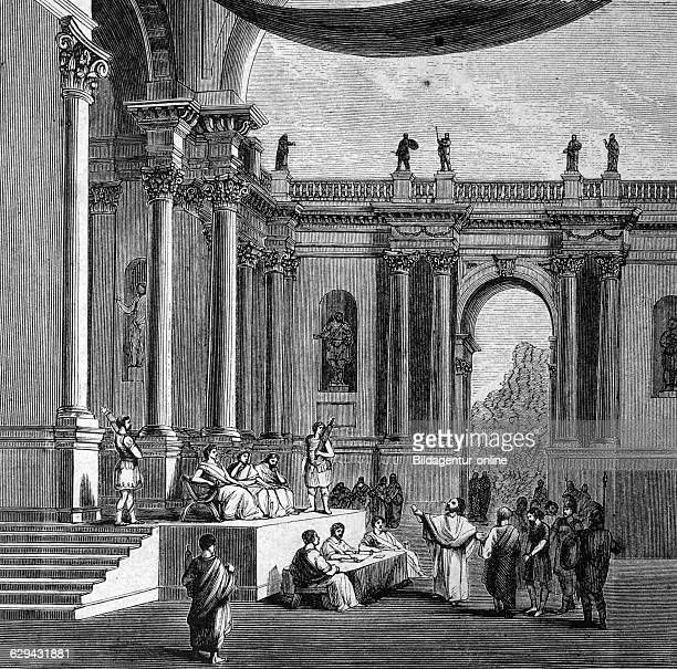 Hall of justice in ancient rome italy historical illustration circa 1886