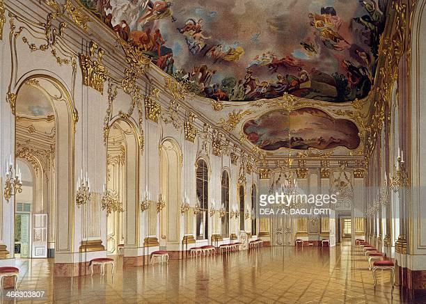 Hall of Mirrors Schoenbrunn Palace Vienna Austria print 19th century
