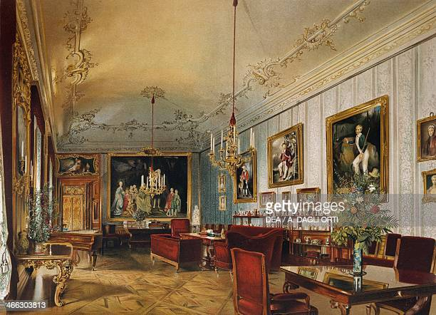 Hall of Princess Sofia in the Imperial Apartments Schoenbrunn Palace Vienna Austria print 19th century