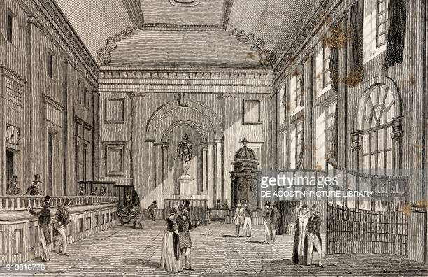 Hall of the Bank of England London England United Kingdom engraving by Lemaitre from Angleterre Ecosse et Irlande Volume IV by Leon Galibert and...