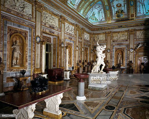 Hall of the Emperors with the Rape of Proserpina by Gian Lorenzo Bernini in the centre Galleria Borghese Rome Italy 18th century