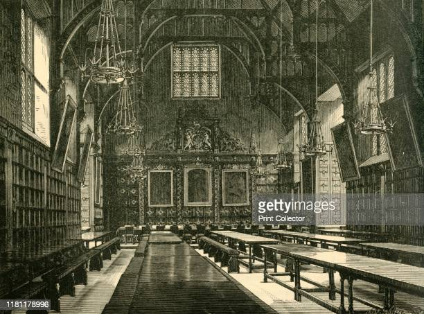 """Hall of Trinity College', 1898. The Great Hall at Trinity College in the University of Cambridge, England founded by Henry VIII in 1546. From """"Our..."""
