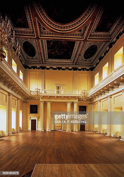Hall with Ionic columns and paintings by Peter Paul Rubens on the ceiling, Banqueting House, 1619-1622, architect Inigo Jones , Whitehall, London,...