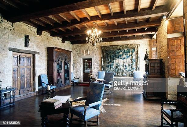 Hall with tapestry Chateau de SaintProjet MidiPyrenees France 13th14th century