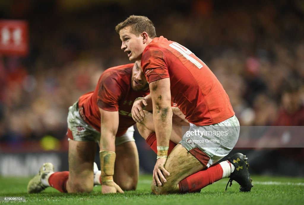 Hallam Amos of Wales and Owen Williams of Wales react during the International match between Wales and New Zealand at Principality Stadium on November 25, 2017 in Cardiff, Wales.