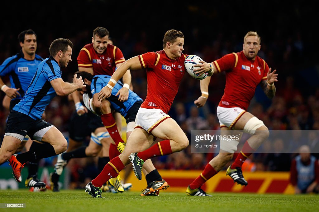Hallam Amos of Wales breaks on the way to scoring his teams fifth try during the 2015 Rugby World Cup Pool A match between Wales and Uruguay at the Millennium Stadium on September 20, 2015 in Cardiff, United Kingdom.