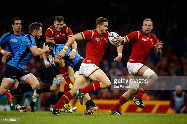 Hallam Amos of Wales breaks on the way to scoring his teams fifth try during the 2015 Rugby World Cup Pool A match between Wales and Uruguay at the...