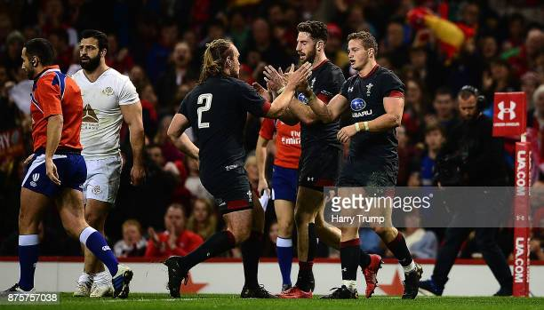 Hallam Amos of Wales celebrates his sides first try during the Under Armour Series 2017 match between Wales and Georgia at the Principality Stadium...