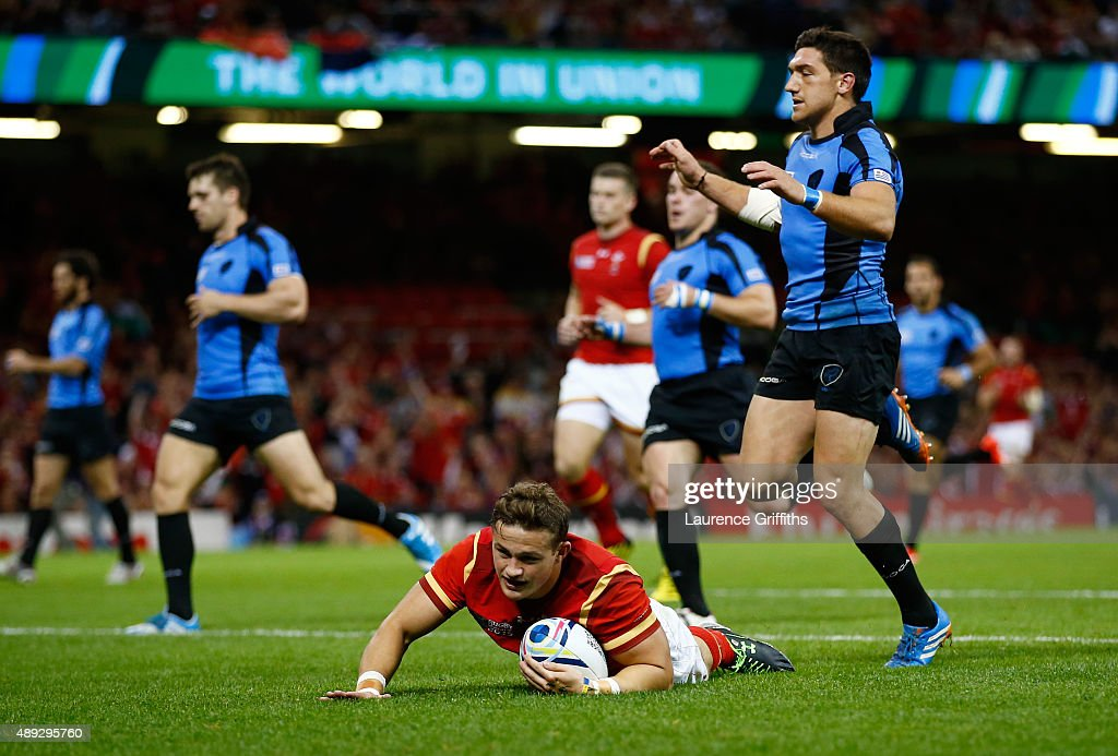 Hallam Amos of Wales goes over to score his teams fifth try during the 2015 Rugby World Cup Pool A match between Wales and Uruguay at the Millennium Stadium on September 20, 2015 in Cardiff, United Kingdom.