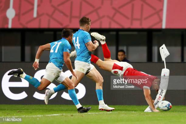 Hallam Amos of Wales touches down to score but the try is disallowed during the Rugby World Cup 2019 Group D game between Wales and Uruguay at...