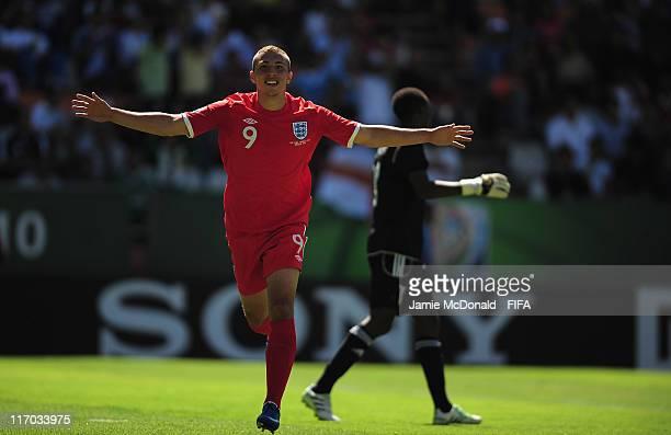 Hallam Hope of England celebrates his goal during the FIFA U17 World Cup Group C match between Rwanda and England at the Estadio Hidalgo on June 19...