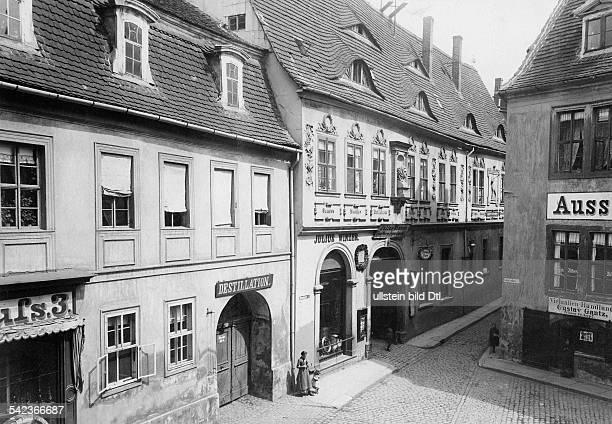 Halle a.d. Saale, Nicolaistrasse: Geburtshaus des Komponisten Georg Friedrich Händel - um 1905