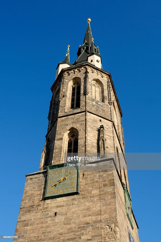 Halle an der Saale, Red Tower, Market Square : Stock Photo