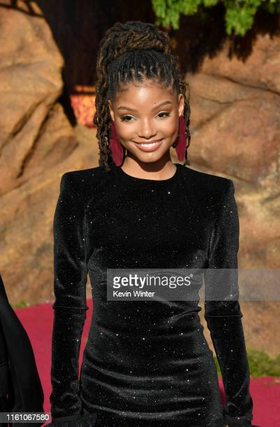 Halle Baile attends the premiere of Disney's The Lion King at Dolby Theatre on July 09 2019 in Hollywood California
