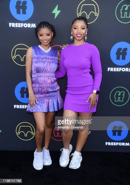 Halle Bailey and Chloe Bailey arrive at the 2nd Annual Freeform Summit at Goya Studios on March 27 2019 in Los Angeles California