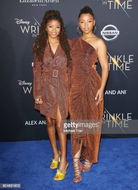 Halle Bailey and Chloe Bailey arrive at the Los Angeles premiere of Disney's 'A Wrinkle In Time' held at El Capitan Theatre on February 26 2018 in...