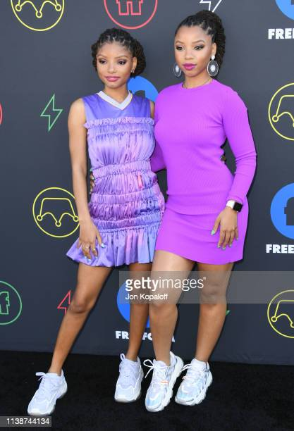 Halle Bailey and Chloe Bailey attend 2nd Annual Freeform Summit at Goya Studios on March 27 2019 in Los Angeles California
