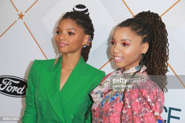 Halle Bailey and Chloe Bailey attend the 2018 Essence Black Women In Hollywood Oscars Luncheon at Regent Beverly Wilshire Hotel on March 1 2018 in...