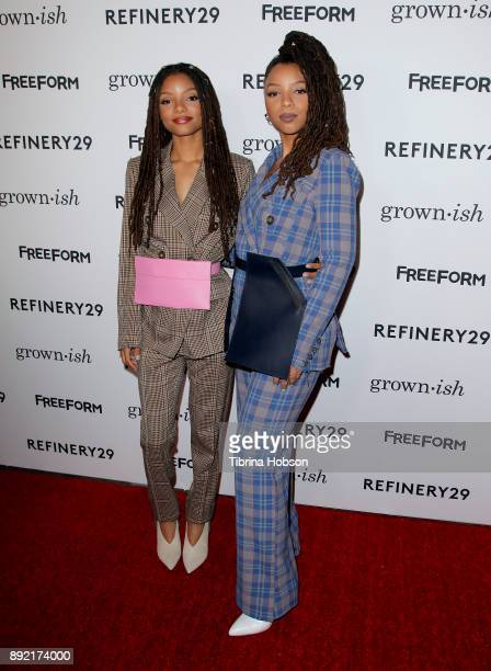 Halle Bailey and Chloe Bailey attend the premiere of ABC's 'Grownish' on December 13 2017 in Hollywood California
