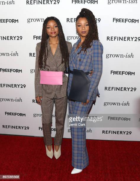 Halle Bailey and Chloe Bailey attends the Premiere Of ABC's 'Grownish' on December 13 2017 in Hollywood California