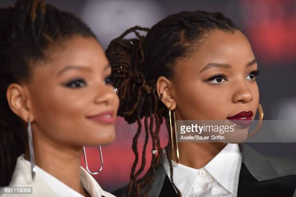 Halle Bailey and Chloe Bailey of Chloe x Halle attend the Los Angeles premiere of 'Star Wars The Last Jedi' at The Shrine Auditorium on December 9...