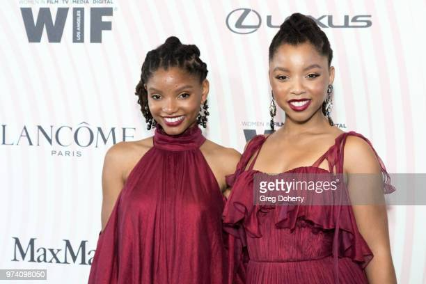 Halle Bailey and Chloe Bailey of Chloe X Halle attend Women In Film 2018 Crystal Lucy Award at The Beverly Hilton Hotel on June 13 2018 in Beverly...